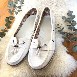 Toms Sperry-Style Loafers Cream Size 8.5